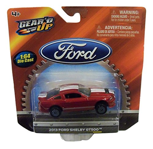 Gear'D Up Officially Licensed Ford 1:64 Die-Cast Vehicle ~ 2013 Ford Shelby Gt500 (Red With Dual White Racing Stripes)