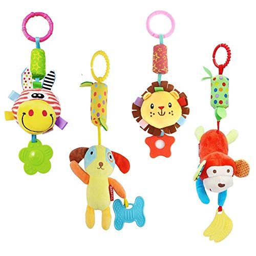 Domire 4Pcs Baby Rattle Hanging Toys Infant Stroller Toys With Cute Wind Chime And Plush Squeak Crib Toys