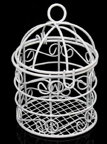 Package Of 12 Small White Metal Bird Cages For Wedding Favors, Party Decorations & Crafts - 2 Dia. X 3.25 High