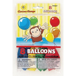 Curious George Printed Balloons - Birthday And Theme Party Supplies - 8 Per Pack
