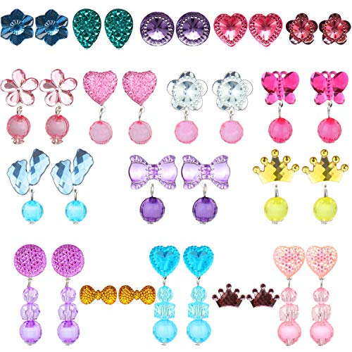 17 Pairs Clip-On Earrings Girls Play Earrings With Different Styles For Party Favor,All Packed In Clear Boxes
