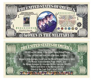 Set Of 5 Bills-Women In The Military Commemorative Million Dollar Bill