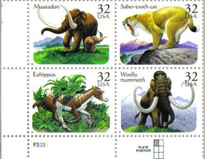Prehistoric Animals ~ Mastodon ~ Eohippus ~ Woolly Mammoth ~ Saber-Tooth Cat #3080A Plate Block Of 4 X 32 Us Postage Stamps