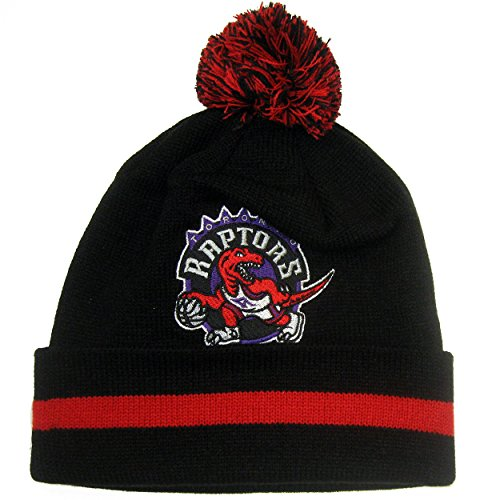 Toronto Raptors Mitchell &Amp; Ness Nba  Blackout  Cuffed Knit Hat W/ Pom