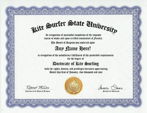 Kite Surfer Kite Surfing Kite Surf Degree: Custom Gag Diploma Doctorate Certificate (Funny Customized Joke Gift - Novelty Item)