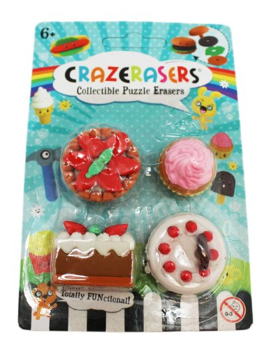 Totally Functional Pie, Cupcake, And More Crazeraser Collectible Puzzle Erasers