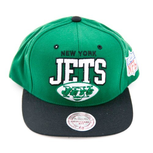 New York Jets Mitchell &Amp; Ness Arched Logo Retro Vintage Snap Back Hat