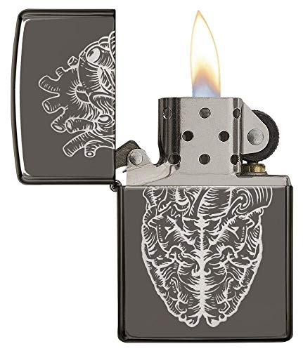 Zippo 29728 Heart Brain Black Ice Lighter
