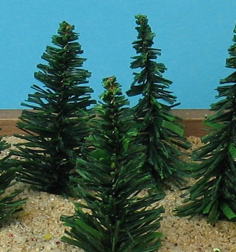Meyer Imports Evergreen Tree - 2  - 5 Pcs Set (218-0201) Decorated, Mounted, Painted, Glittered