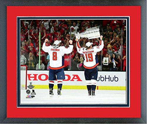 Alex Ovechkin Nicklas Backstrom Washington Capitals Stanley Cup Trophy Photo (Size: 18  X 22 ) Framed