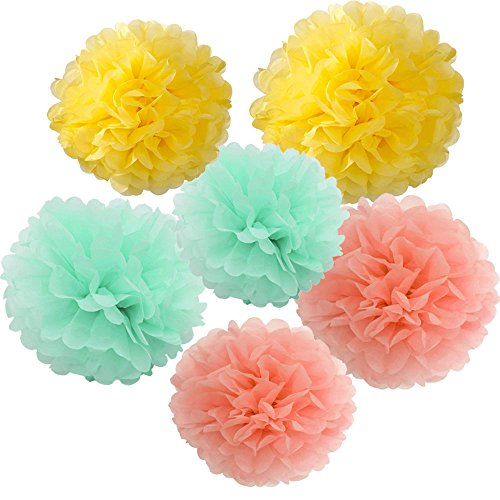 X-Sunshine Outdoor Indoor 18Pcs 10  8  Pom Poms Diy Tissue Paper Flowers Multi-Colors Christmas Wedding Party Room Decor Pom Pom Flowers Pom Poms Crafts Handmade Decoration (Mint Peach Yellow)