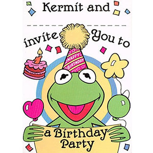 Muppets Vintage 1989 Kermit Music Happy Birthday Invitations W/ Envelopes (8Ct)