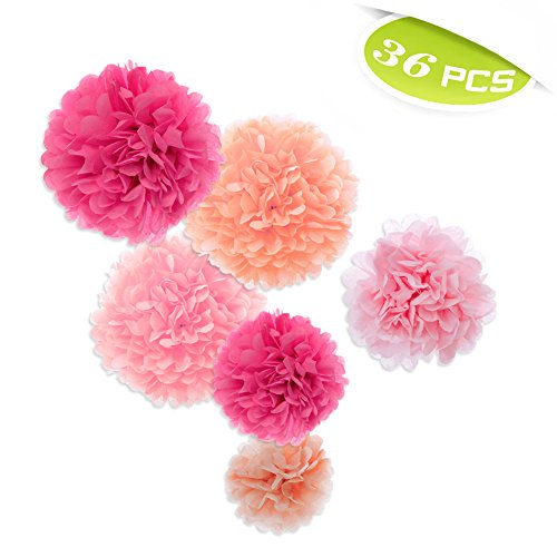 (Price/36 Pcs)Aspire 36 Pcs Paper Decorations Pom Pom Pink Tissue Paper Flower Birthday Celebration Party Favors