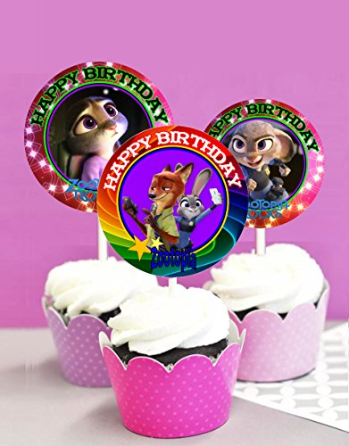 12 Zootopia Birthday Inspired Party Picks, Cupcake Picks, Cupcake Toppers #1