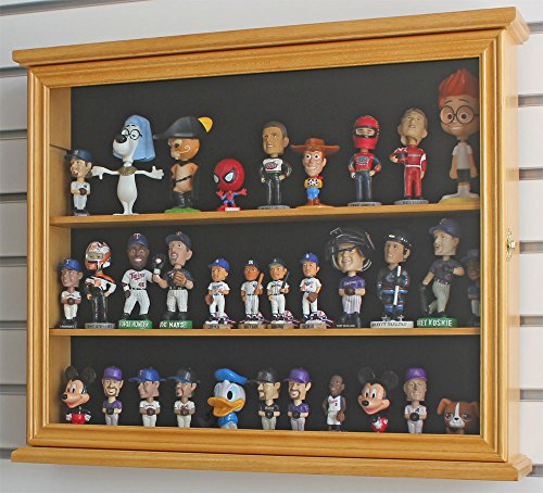 Display Case Cabinet Stand Holder For Mini/Small 4  Bobblehead Wobbler Funko Pop/Vinylmation Collection (Oak Finish)