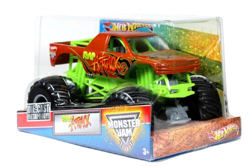 Hot Wheels Monster Jam 1:24 Scale Die Cast Metal Body Official Monster Truck 2012 Series #W3368-098B : Rap Attack With Monster Tires, Working Suspension And 4 Wheel Steering (Dimension : 7 L X 5-1/2 W X 4-1/2 H)