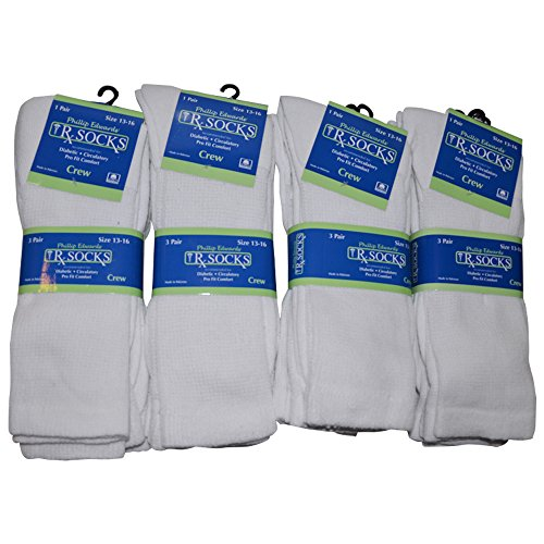 Diabetic Socks Mens Non-Binding Crew Length, Size 13-16, 12 Pairs, White