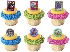 12 So So Happy Spread The Love Monsters Cupcake Rings Toppers Party Favors