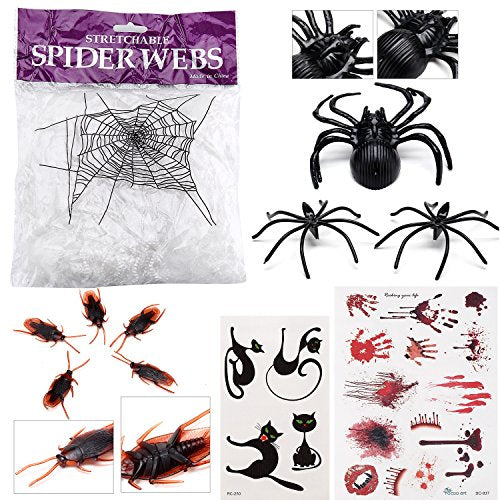 Halloween Decoration Set - White Spider Web (1 Bag), Big Spider (1), Small Spiders (150), Cockroaches (50), Bloody Tat Set (1) And Kitty Tattoo Set (1)