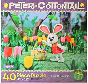 Peter Cottontail Field Of Flowers ~ 40 Piece Jigsaw Puzzle