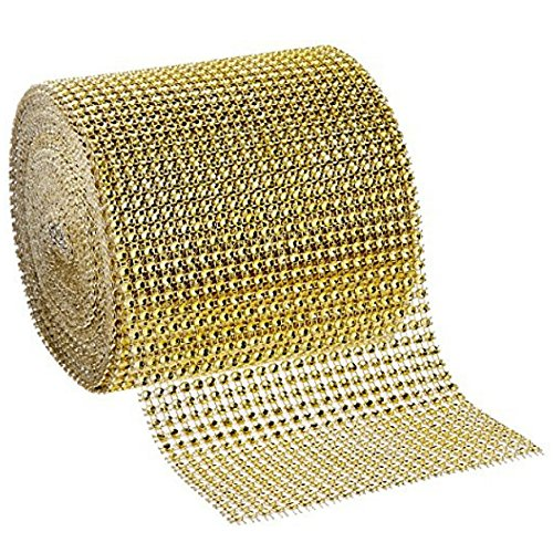 Gold Diamond Rhinestone Mesh Ribbon, Crystal Ribbon For Event Decorations, Wedding Cake, Party, Holiday & Home Decoration, 10 Yards, 24 Row