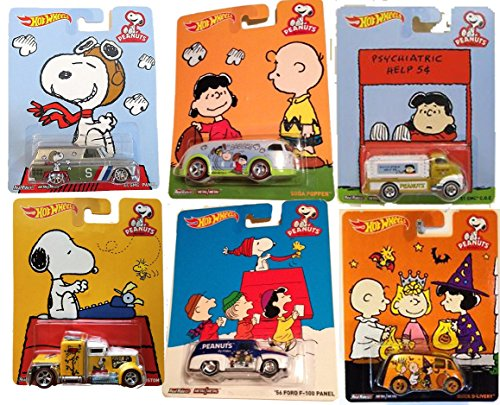 2015 Hot Wheels Pop Culture Peanuts Snoopy Charlie Brown Lucy 6-Car Set (Convoy Custom; '64 Gmc Panel; Soda Popper; '51 Gmc C.O.E.; '56 Ford F-100 Panel; Quick D-Livery)