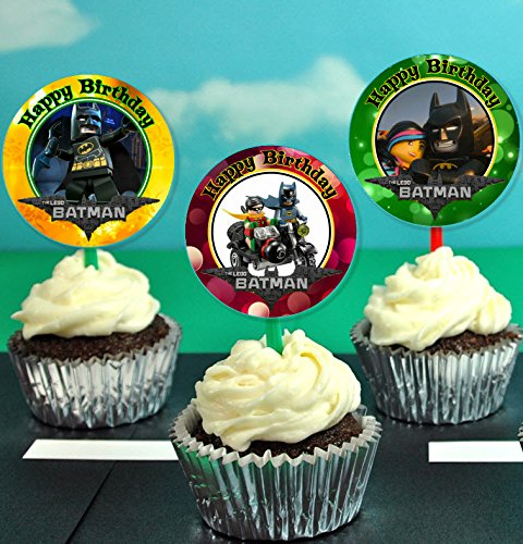 12 Lego Batman Movie Birthday Inspired Party Picks, Cupcake Picks, Cupcake Toppers #1