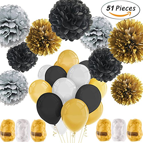 Newland Party Decorations, 51 Pcs Kits, Pom Poms Flowers, Latex Balloons, Colorful Ribbons Kit, For Wedding Birthday Party Festival Decorations (Black Silver Gold)
