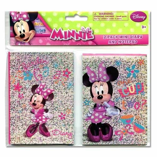 Minnie Mouse Mini Diary & Notepad With Foil Printing On Covers - Party Supplies