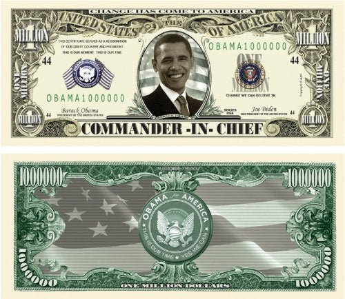 Set Of 10 Bills-Barack Obama Collectible Million Dollar Bills
