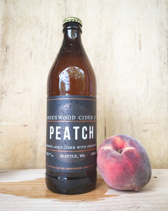 Greenwood Cider Peatch Barrel Aged with Peaches 500 mL (9.5% ABV) PEACH WHISKEY PEAT