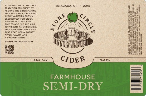 Stone Circle Semi Dry 500 mL (6.5% ABV) DRINK YOUR APPLES
