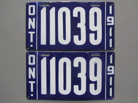 1911 YOM Clear Ontario License Plates