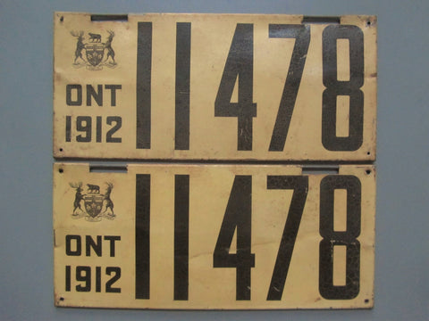 1912 YOM Clear Ontario License Plates