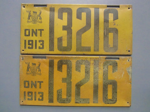 1913 YOM Clear Ontario License Plates