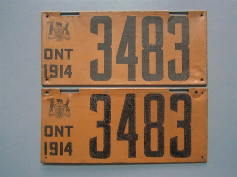 1914 YOM Clear Ontario License Plates