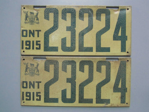 1915 YOM Clear Ontario License Plates
