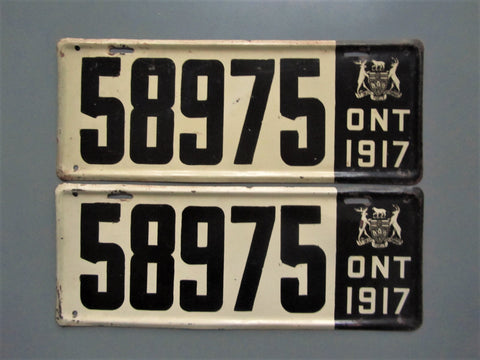 1917 YOM Clear Ontario License Plates