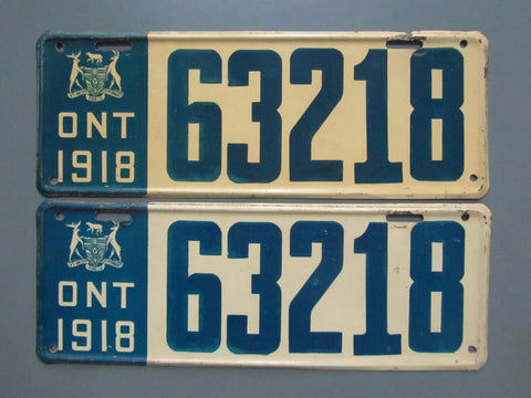 1918 YOM Clear Ontario License Plates