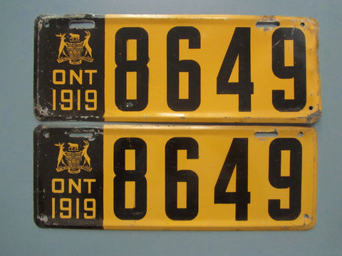 1919 YOM Clear Ontario License Plates