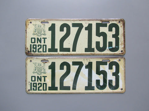 1920 YOM Clear Ontario License Plates