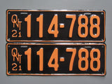 1921 YOM Clear Ontario License Plates