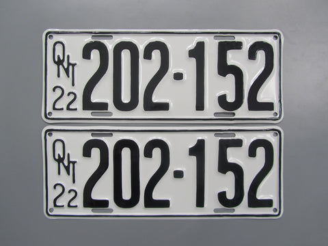 1922 YOM Clear Ontario License Plates