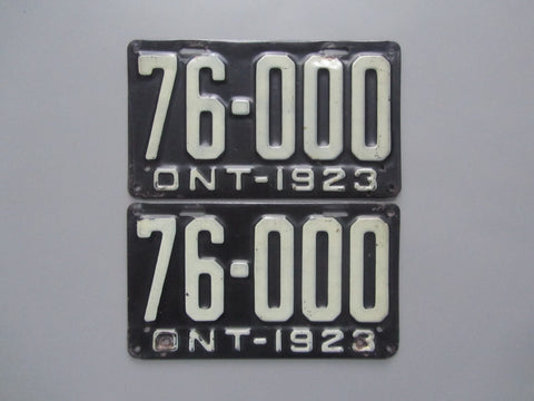 1923 YOM Clear Ontario License Plates