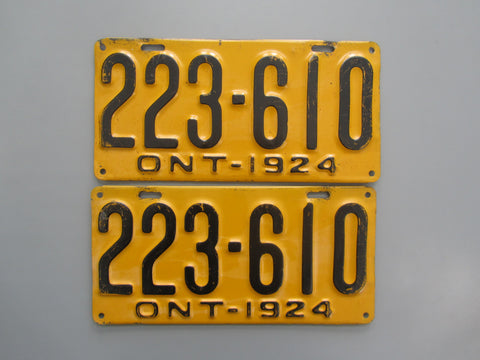 1924 YOM Clear Ontario License Plates