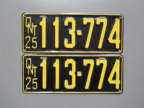 1925 YOM Clear Ontario License Plates