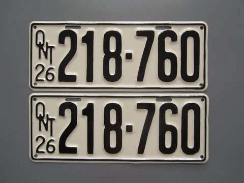 1926 YOM Clear Ontario License Plates