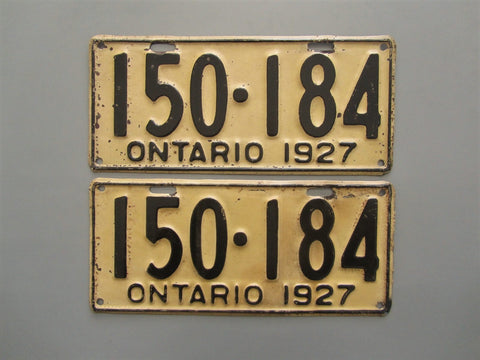 1927 YOM Clear Ontario License Plates