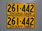 1928 YOM Clear Ontario License Plates