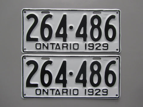 1929 YOM Clear Ontario License Plates